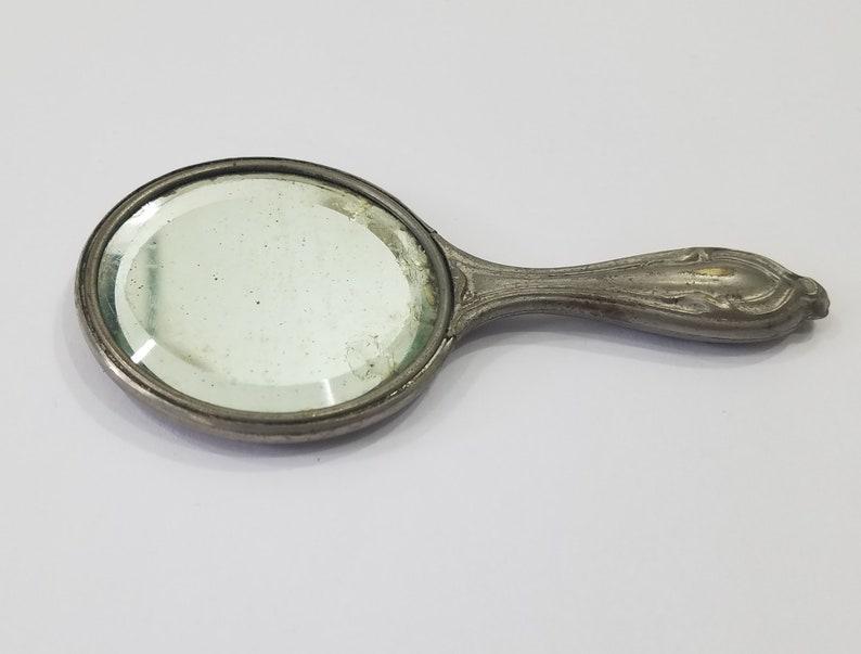 Victorian Art Nouveau Miniature Hand Mirror image 0