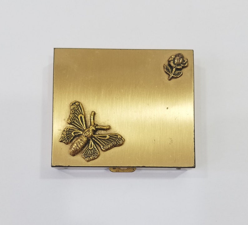Vintage Gold Tone Butterfly Pill/ Trinket Compact image 0