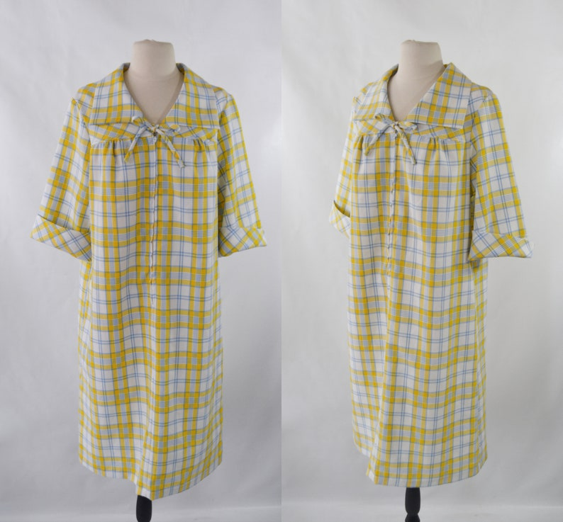 1960s/1970s Yellow White and Blue Plaid Shift Dress image 0