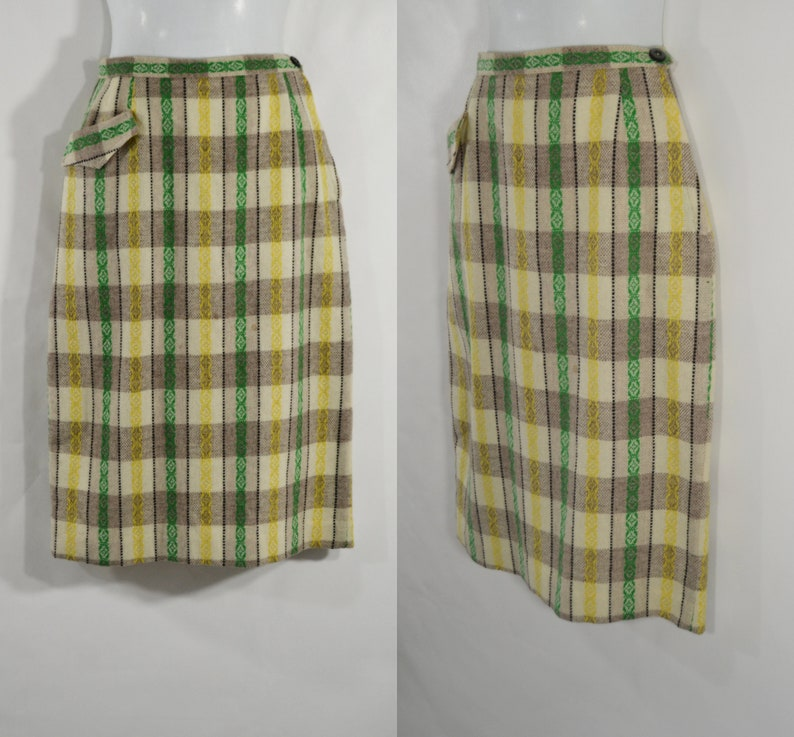 1950s/1960s Gray and White Plaid with Green and Yellow Stripe image 0