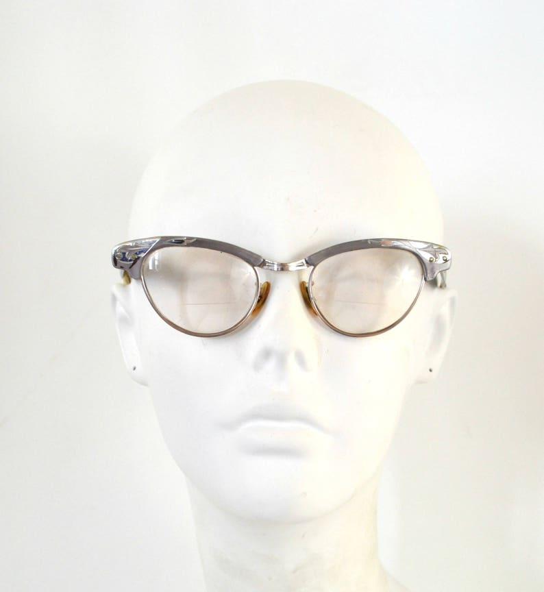 1950s/1960s Silver Tone Aluminum Frame Bi-Focal Cat-Eye image 0