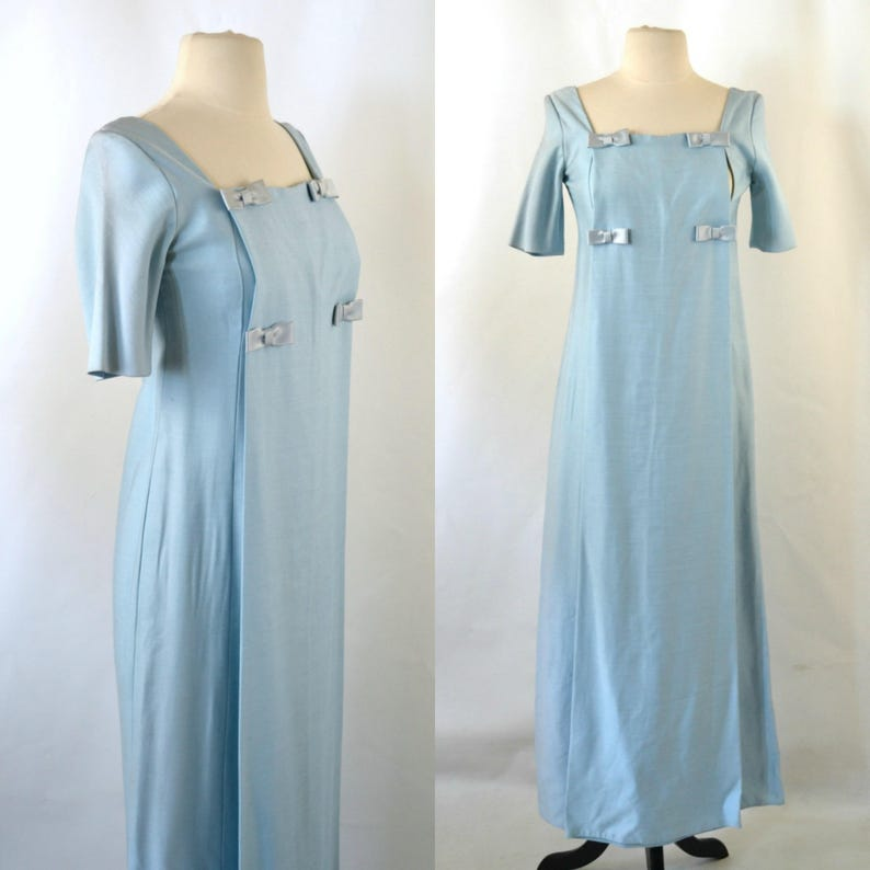 1960s/1970s Blue Short Sleeve Maxi Formal Gown Bridesmaid image 0