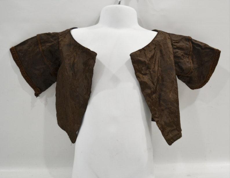 Antique 1850s/1860s Chocolate Brown Toddler Brocade Jacket image 0