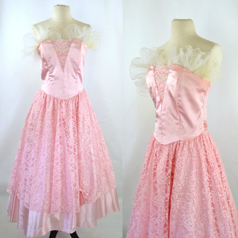 1980s Pink Strapless Formal Dress by Steppin' Out image 0