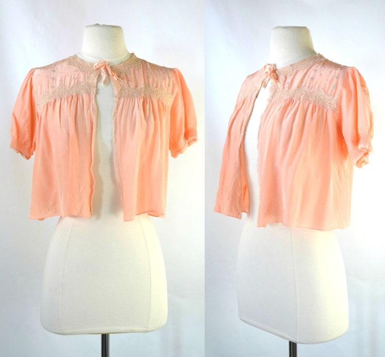 1950s Pink Peach Nylon Satin Bed Jacket Vintage Lingerie image 0