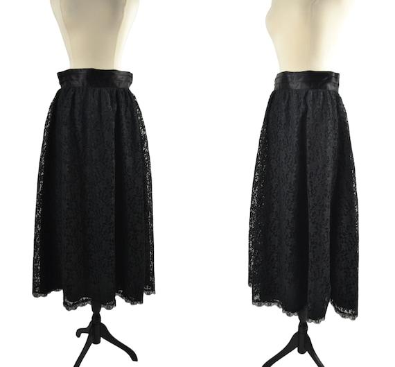 1980s Black Lace Overlay Skirt by Gunnies for Gunn