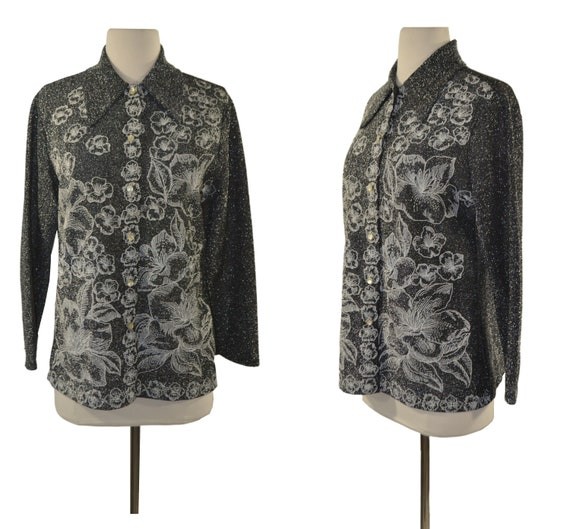 1960s/1970s Black and Silver Metallic Lurex Blouse