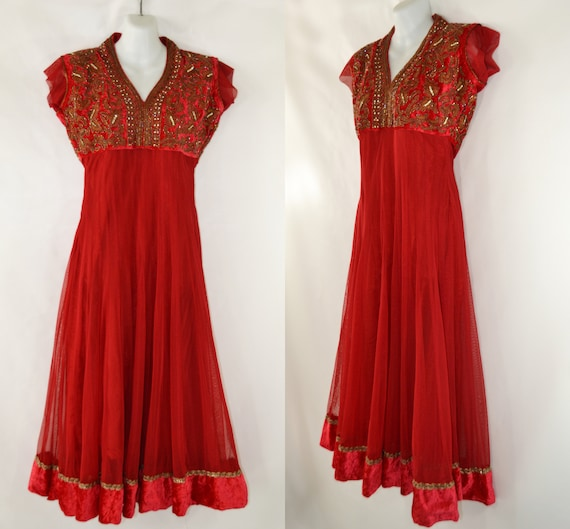 Vintage Lipstick Red Bollywood Empire Waist Dress