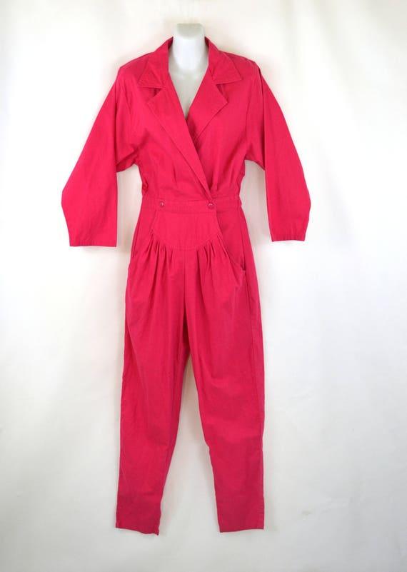 1980s Hot Dark Pink Jumpsuit/Coveralls by Mizz Liz