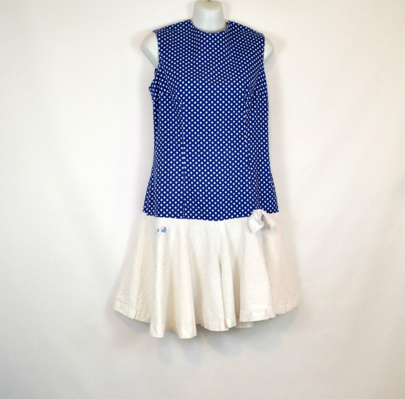 1960s Drop Waist Blue and White Polka Dot Romper Tennis image 0