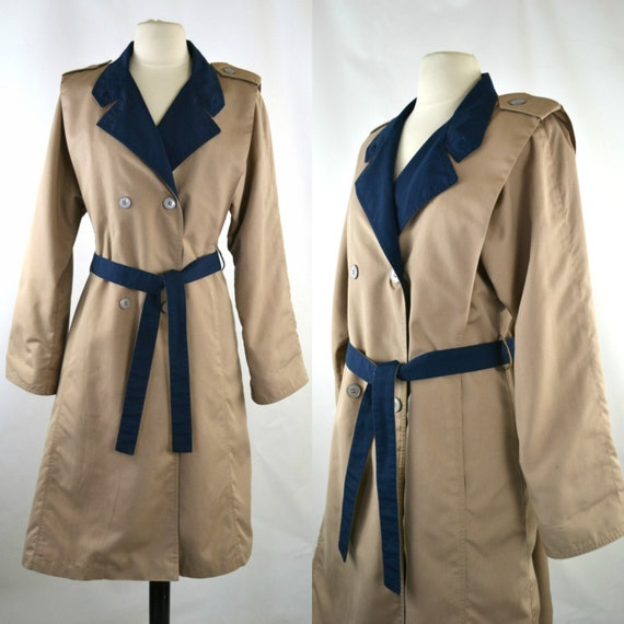 1980s Taupe and Navy Blue Trench Coat by Misty Har