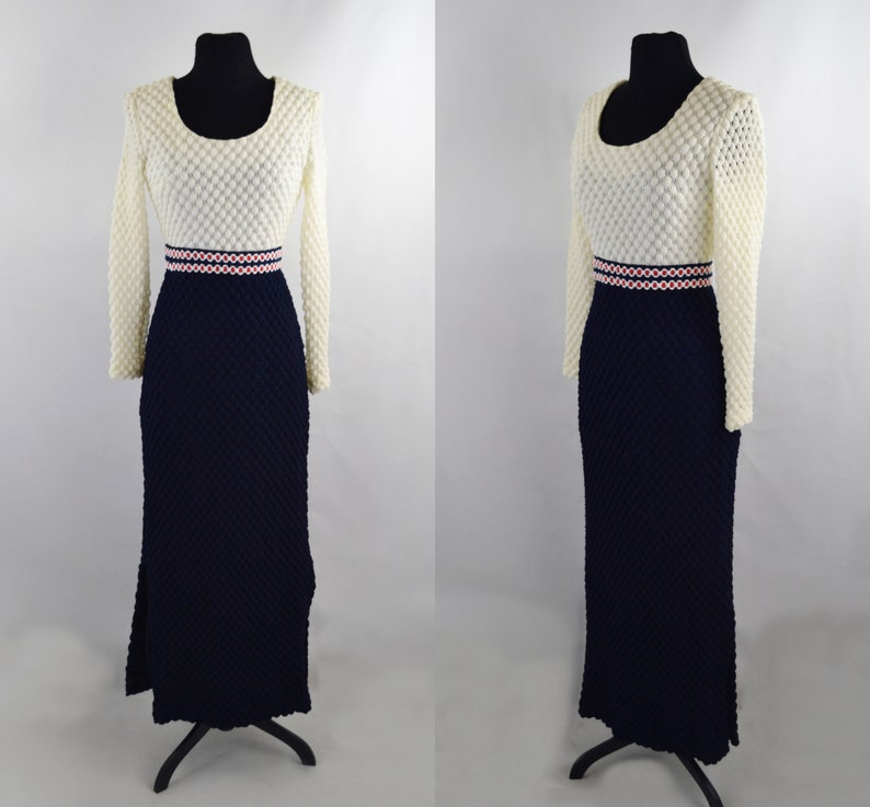 1970s Blue and Ivory Bubble Knit Maxi/Floor Length Dress image 0