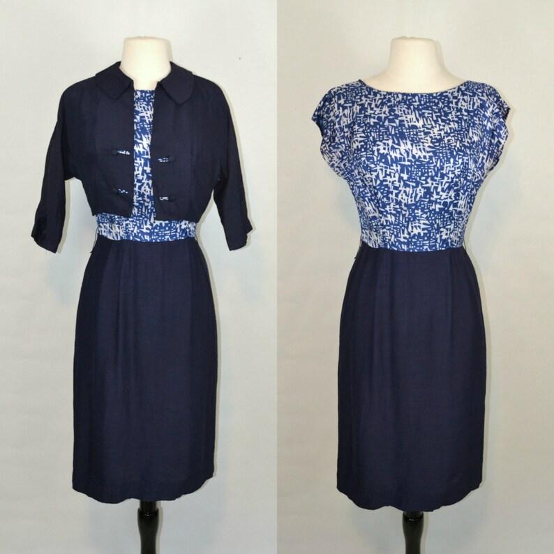 1950s/1960s Blue Geometric Print Blouse Sheath Dress and image 0