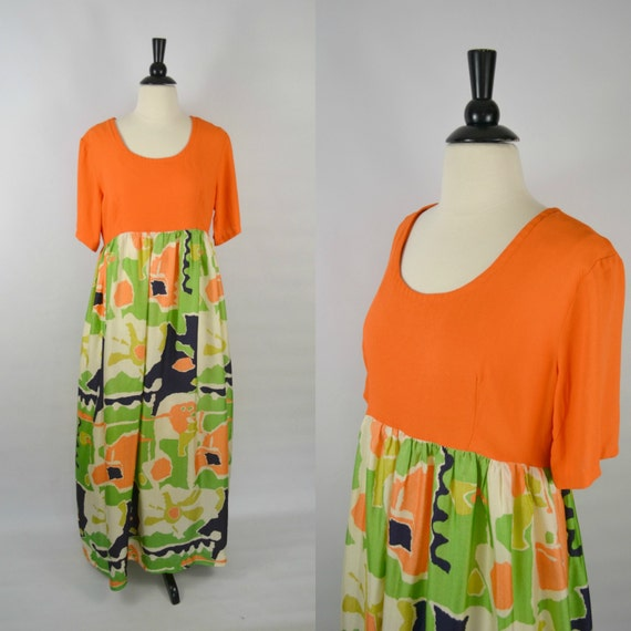 1970s Orange Abstract Print Empire Waist Maxi Dres