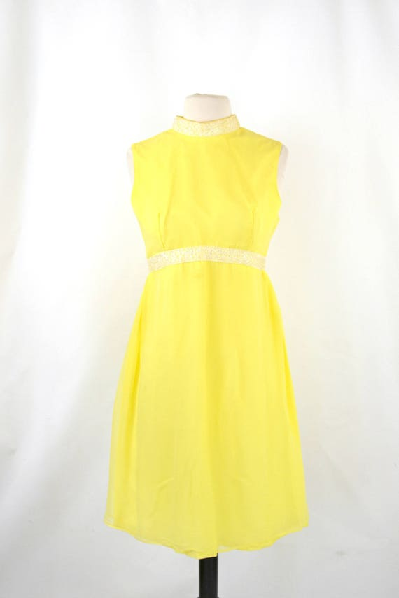 1960s Bright Yellow Sleeveless Chiffon Midi Lengt… - image 2