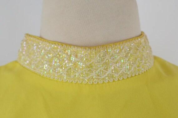 1960s Bright Yellow Sleeveless Chiffon Midi Lengt… - image 7