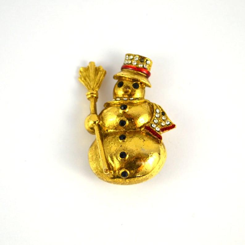 Vintage Gold Tone Snowman Brooch Christmas Pin Holiday Pin image 0
