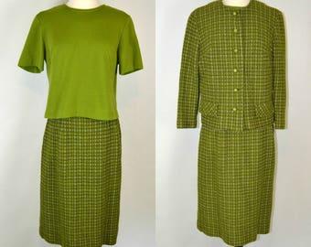 années 1960 vert Secrétaire tenue par le juge Harlan originaux, chemisier, veste/Blazer, jupe