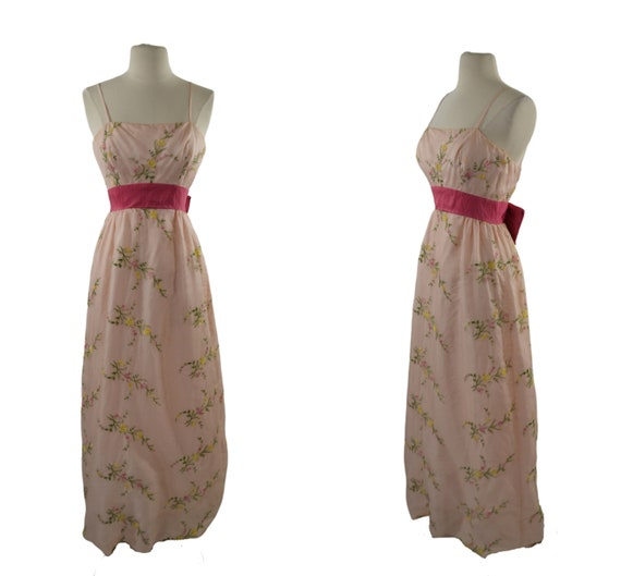 1960s Pink Floral Embroidered Spaghetti Strap Dres