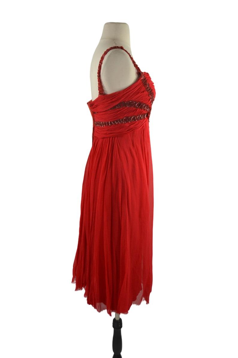 Vintage Lipstick Red Gauzy Sleeveless Dress Wounded BirdNeeds TLC