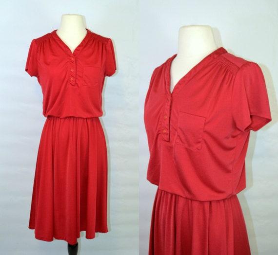 1970s Wine Red Blouson Pleated Skirt Short Sleeve Dress by  755ba2833