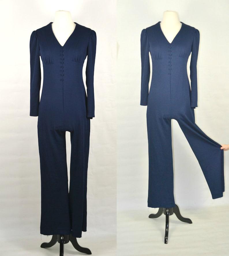 1970s Dark Blue Jumpsuit Pants Disco Romper Polyester image 0