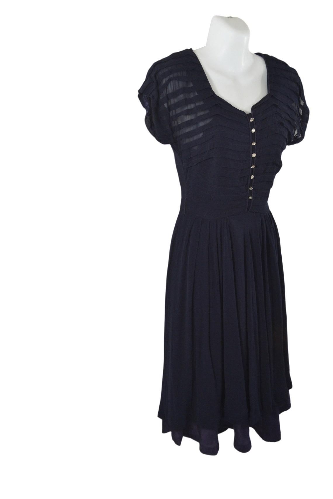 1950s Dark Blue Sheer Gauzy Cocktail Party Dress Needs TLC