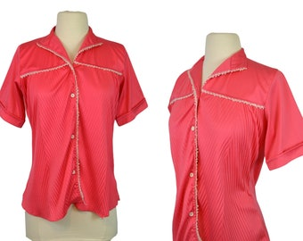 1960s Pink Coral Western Blouse by Daffodil, Ranch Wear, Country Chic