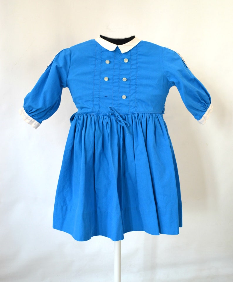 1950s/1960s Toddler Girls Blue Cotton Long Sleeve Day Dress image 0