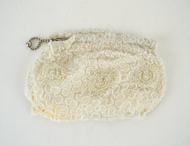 Vintage White Seed Bead Coin Purse/Mini Clutch Handmade in image 0