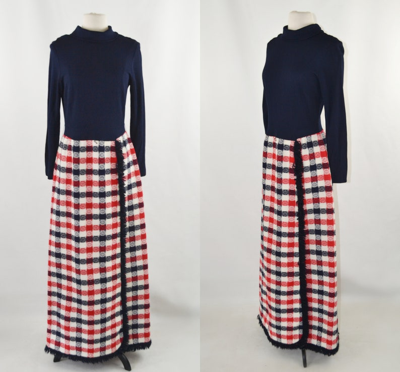 1970s Dark Blue Red and White Plaid Faux Wrap Skirt Maxi image 0