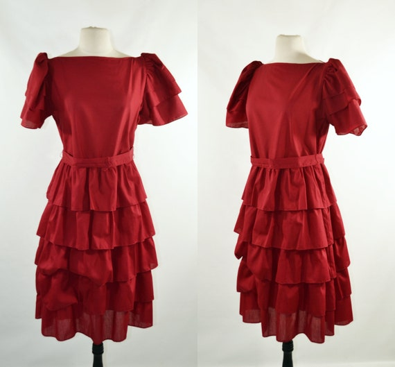 1980s Wine Red Puffed Sleeve Tiered Dress, Size Me