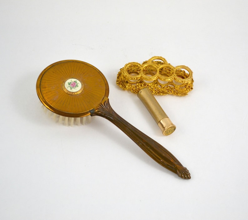 Vintage Dark Gold Tone Round Vanity Hair Brush with an Inset image 0