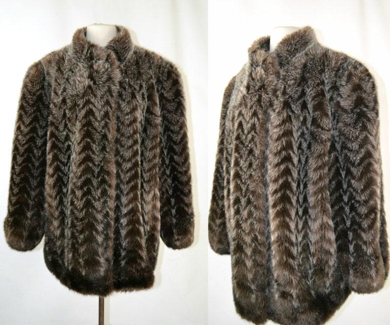 1970s Imitation Fur Dark Brown and Gray Chevron Stripe image 0