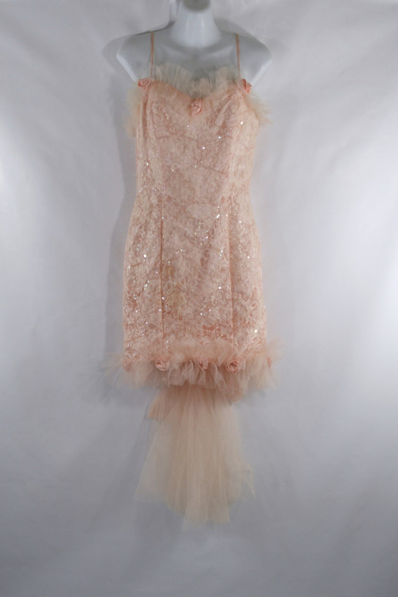 1980s Peach Hour Glass Lace and Sequin Overlay Formal Dress by image 0