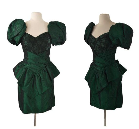 1980s Green Metallic Peplum Waist Dress