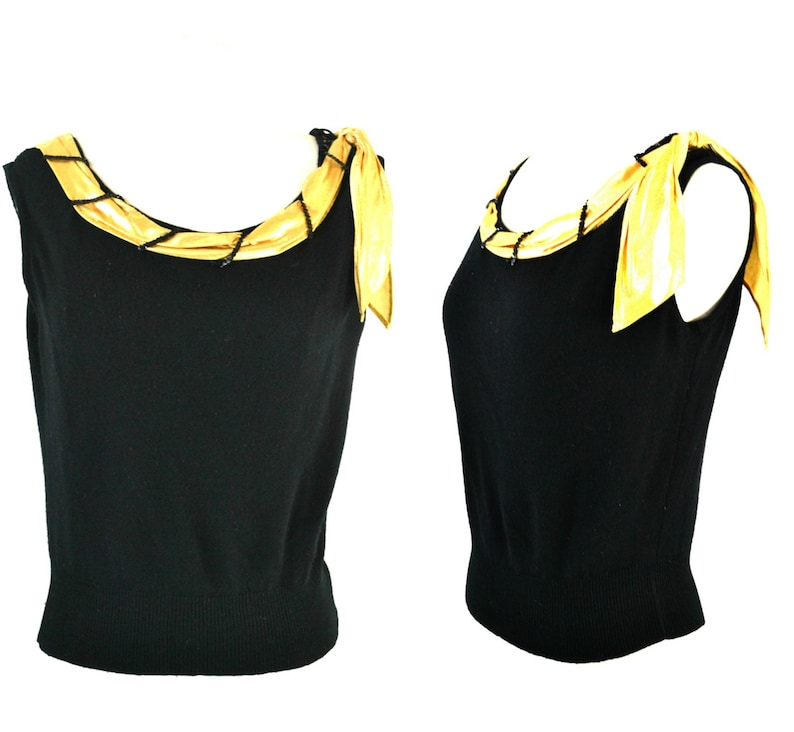 1940s/1950s Black Sleeveless Knit Blouse with Gold Lame Scarf image 0