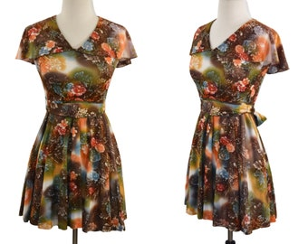 1960s/1970s Brown and Orange Floral Print Mini/Midi Dress
