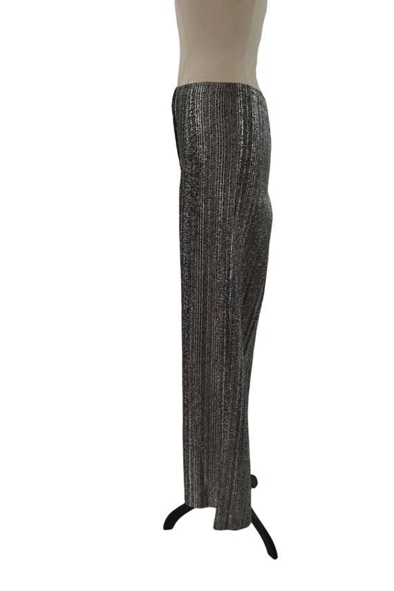 1970s Black and Silver Lurex Metallic Wide Leg Pa… - image 4