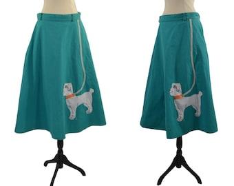 1980s Teal Poodle Skirt by Sas'sa, Poodle Needs TLC
