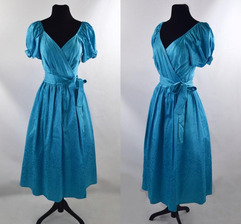1980s Blue Floral Damask Off the Shoulder Formal Dress image 0