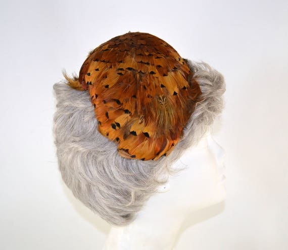 1950s Natural Colored Feathered Fascinator Hat, H… - image 7