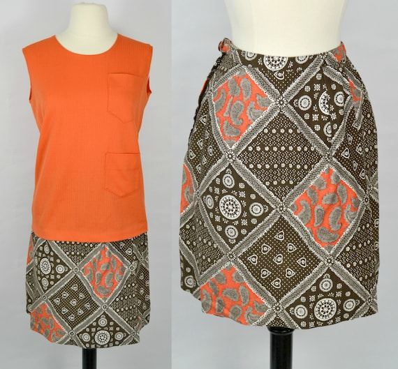 1970s Orange and Brown Two Piece Outfit Shirt and