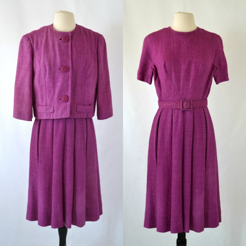 1960s Purple Tweed Dress and Jacket Set by Herbert Schneider image 0