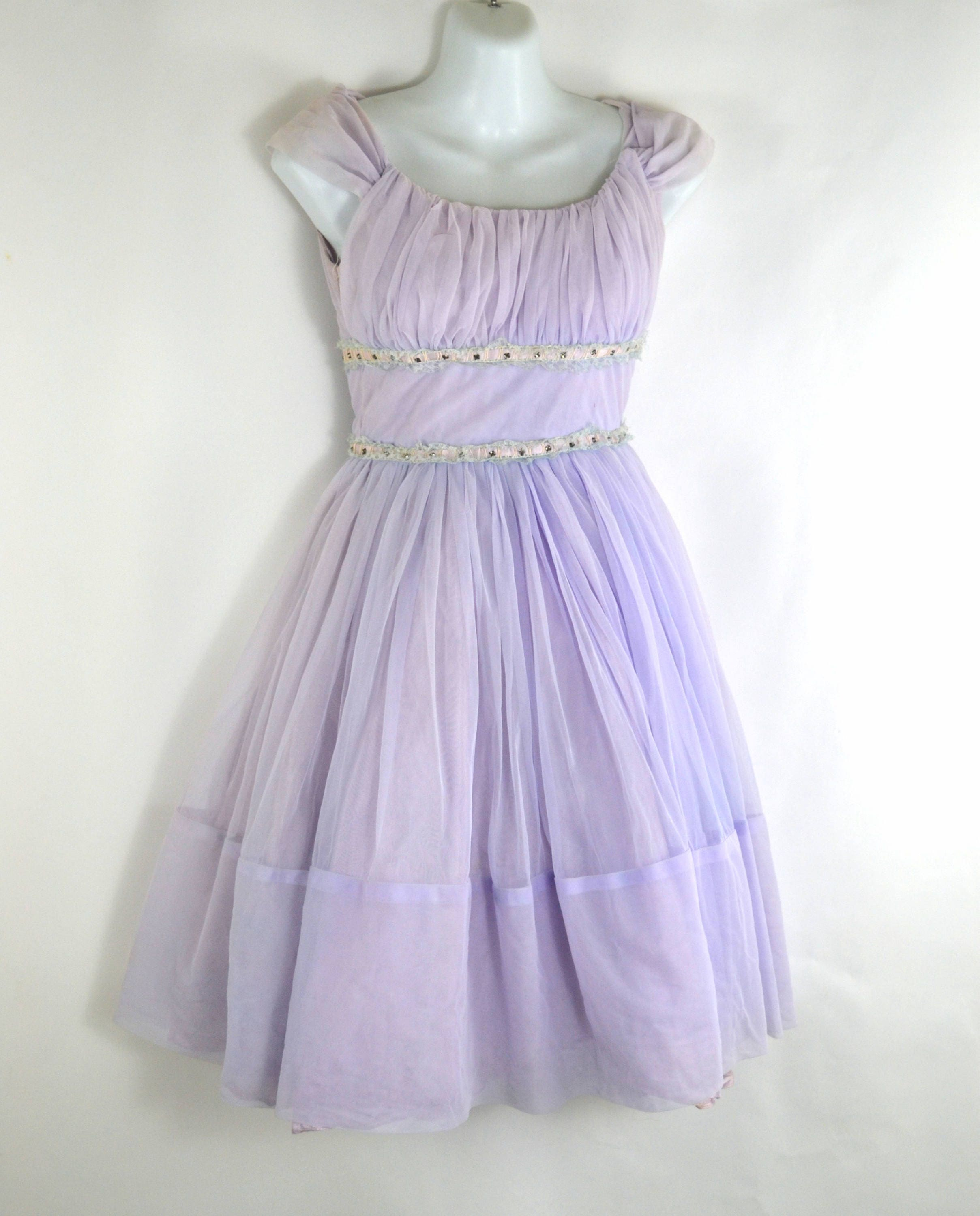 Vintage Scarf Styles -1920s to 1960s 1950S Lavender Sleeveless Chiffon Full Skirt Party Dress, Clear Rhinestone Accent $110.00 AT vintagedancer.com