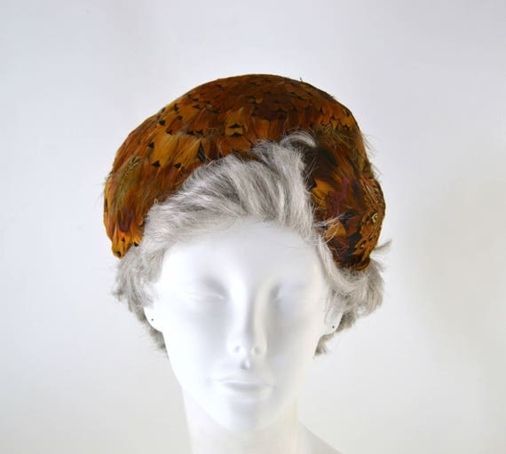 1950s Natural Colored Feathered Fascinator Hat, H… - image 4