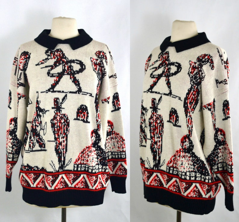 1980s Ivory Oversized Maternity Sweater with Black and Red image 0