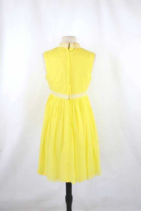 1960s Bright Yellow Sleeveless Chiffon Midi Lengt… - image 5
