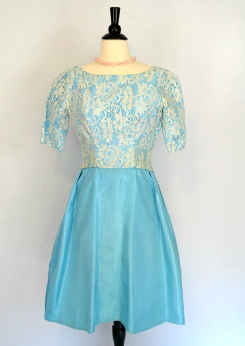 1960s Robins Egg Blue Lace Bodice Overlay Cocktail Party Tea image 0