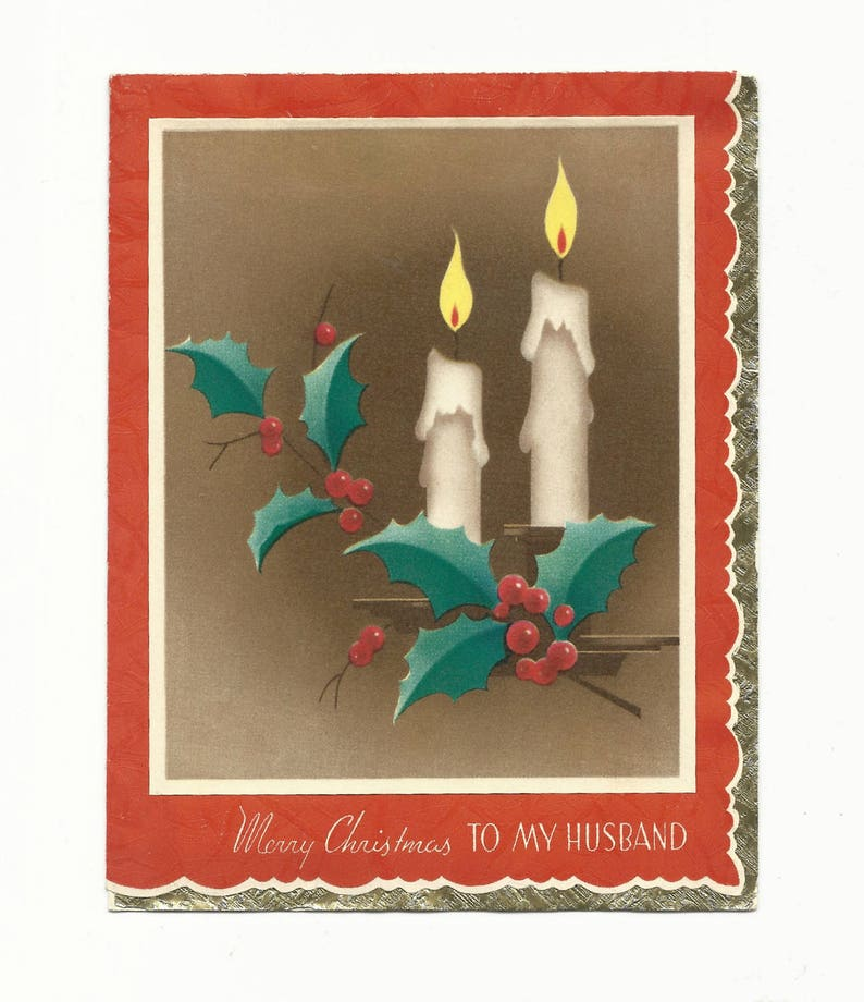 Vintage Christmas Card To My Husband Holly Berries and image 0